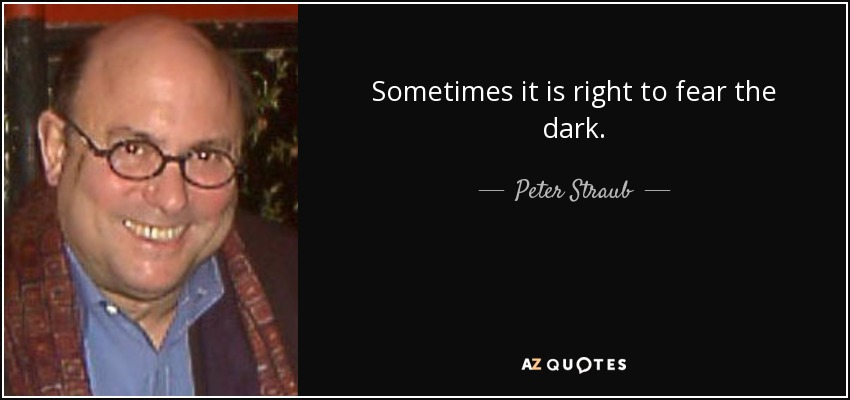 Sometimes it is right to fear the dark. - Peter Straub