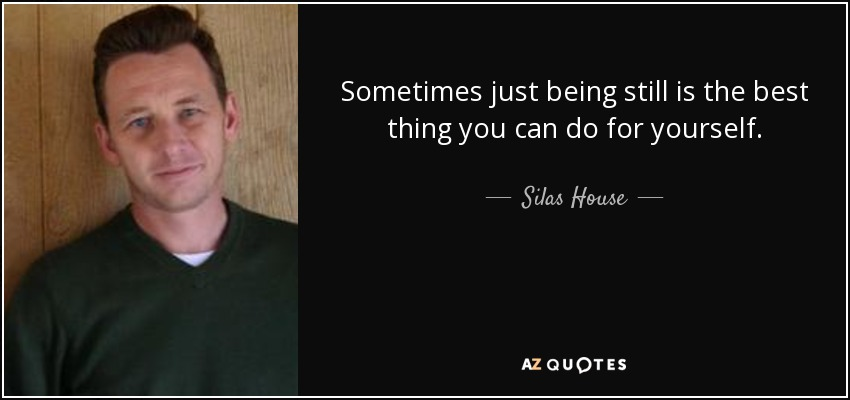 Sometimes just being still is the best thing you can do for yourself. - Silas House