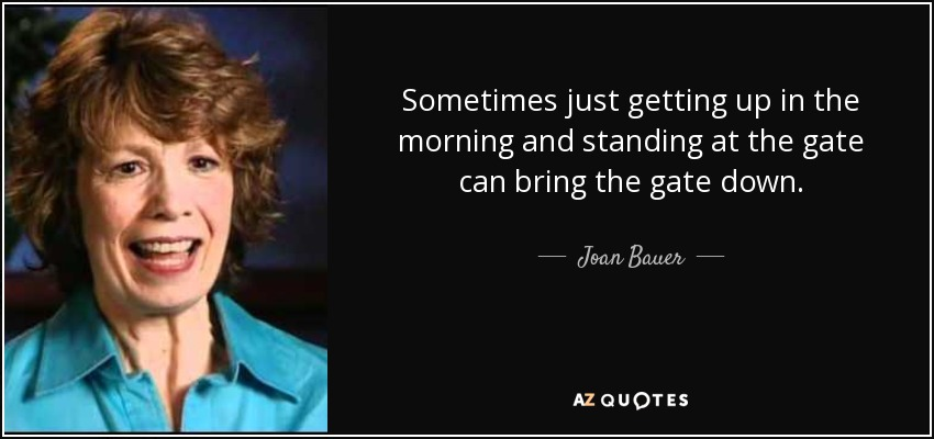 Sometimes just getting up in the morning and standing at the gate can bring the gate down. - Joan Bauer