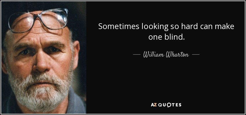 Sometimes looking so hard can make one blind. - William Wharton