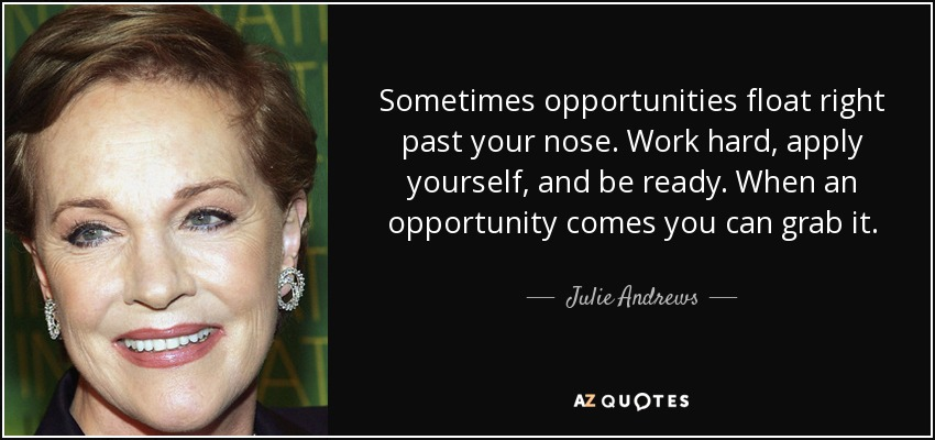 Sometimes opportunities float right past your nose. Work hard, apply yourself, and be ready. When an opportunity comes you can grab it. - Julie Andrews