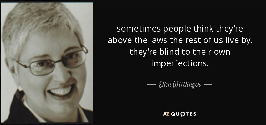 sometimes people think they're above the laws the rest of us live by. they're blind to their own imperfections. - Ellen Wittlinger