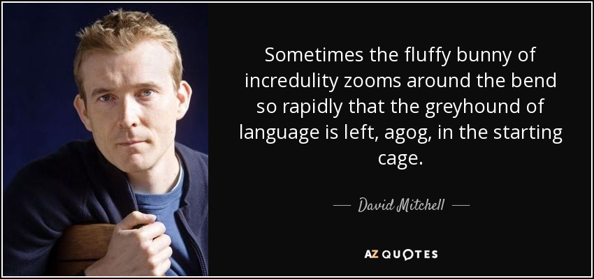Sometimes the fluffy bunny of incredulity zooms around the bend so rapidly that the greyhound of language is left, agog, in the starting cage. - David Mitchell