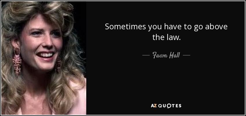 Sometimes you have to go above the law. - Fawn Hall
