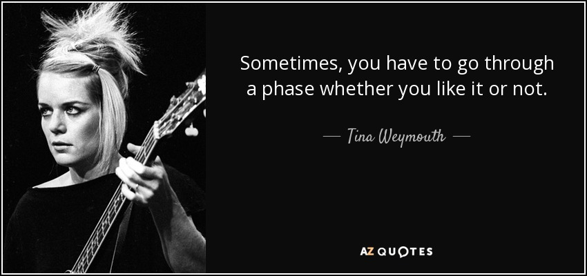 Sometimes, you have to go through a phase whether you like it or not. - Tina Weymouth