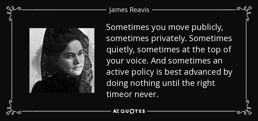 Sometimes you move publicly, sometimes privately. Sometimes quietly, sometimes at the top of your voice. And sometimes an active policy is best advanced by doing nothing until the right timeor never. - James Reavis