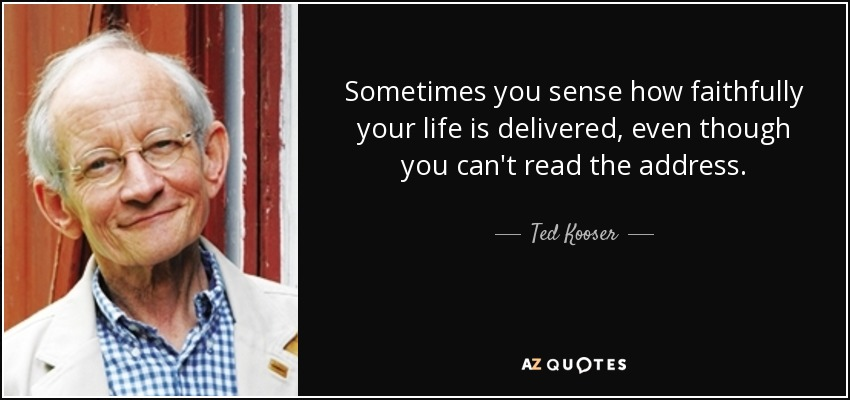 Sometimes you sense how faithfully your life is delivered, even though you can't read the address. - Ted Kooser