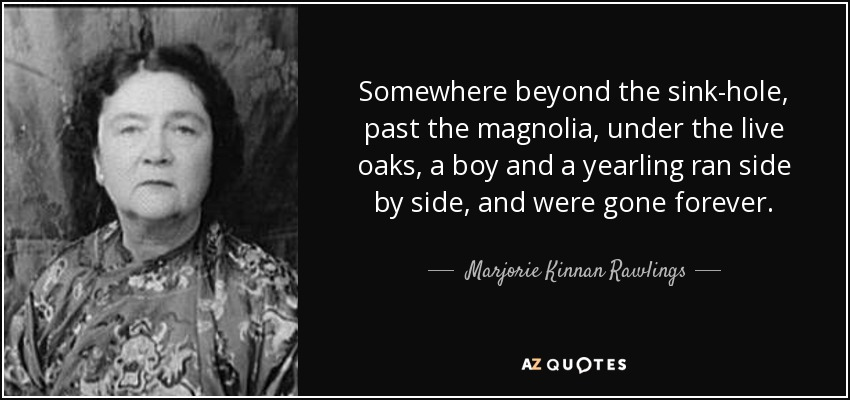Somewhere beyond the sink-hole, past the magnolia, under the live oaks, a boy and a yearling ran side by side, and were gone forever. - Marjorie Kinnan Rawlings