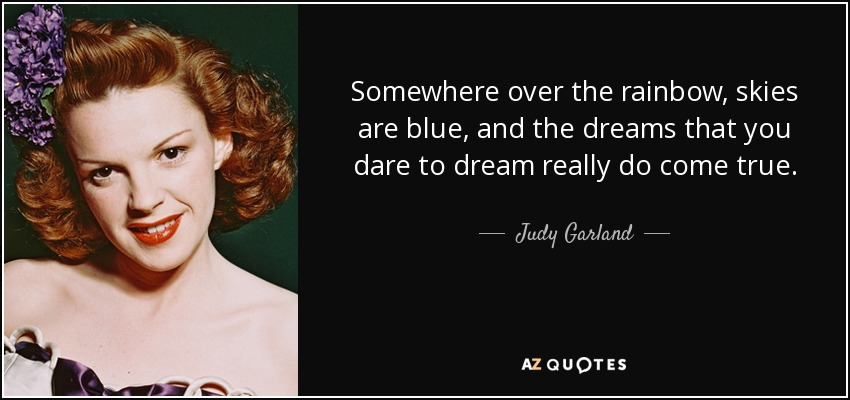 Judy Garland Quote Somewhere Over The Rainbow Skies Are Blue And