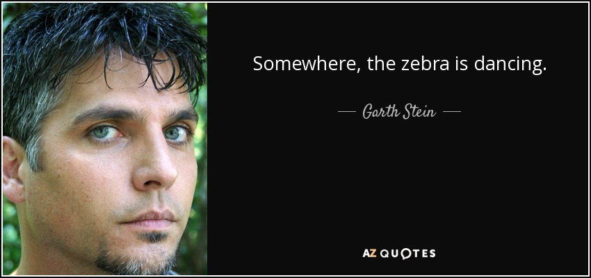 Somewhere, the zebra is dancing. - Garth Stein