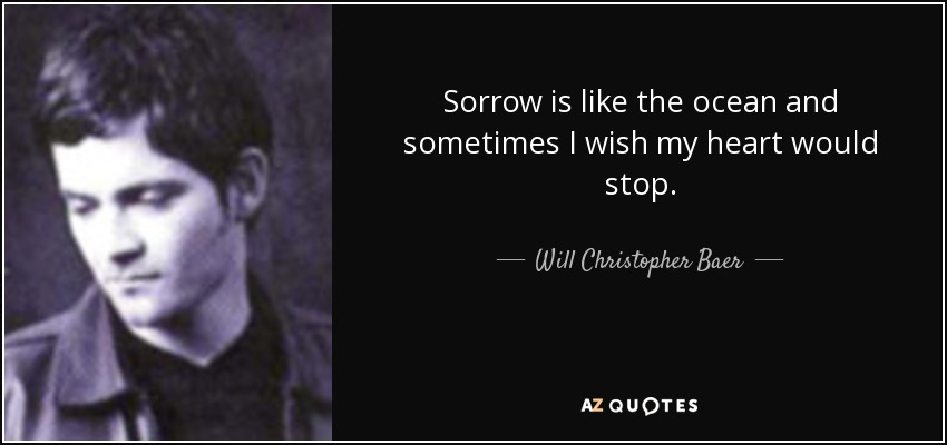 Sorrow is like the ocean and sometimes I wish my heart would stop. - Will Christopher Baer