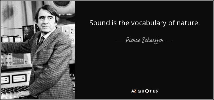 Sound is the vocabulary of nature. - Pierre Schaeffer