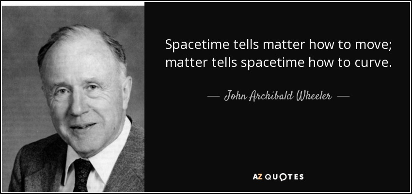 John Archibald Wheeler Quote: Spacetime Tells Matter How