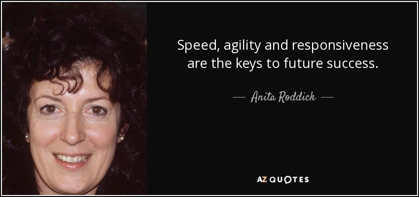 Speed, agility and responsiveness are the keys to future success. - Anita Roddick