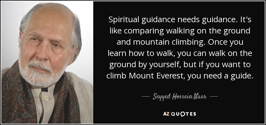 Spiritual guidance needs guidance. It's like comparing walking on the ground and mountain climbing. Once you learn how to walk, you can walk on the ground by yourself, but if you want to climb Mount Everest, you need a guide. - Seyyed Hossein Nasr
