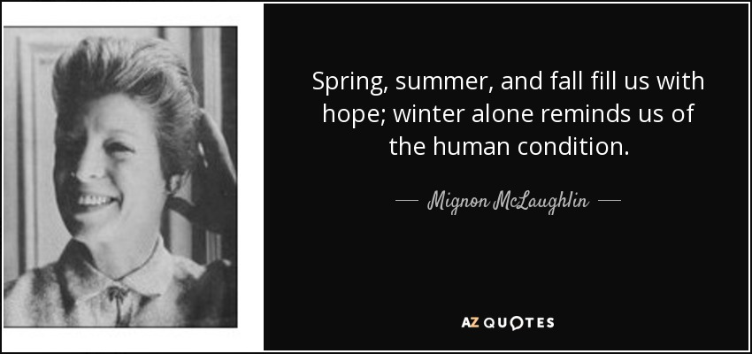 Spring, summer, and fall fill us with hope; winter alone reminds us of the human condition. - Mignon McLaughlin