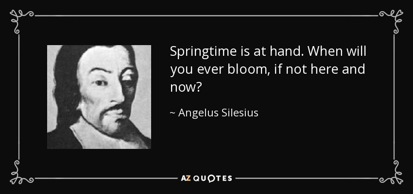 Springtime is at hand. When will you ever bloom, if not here and now? - Angelus Silesius