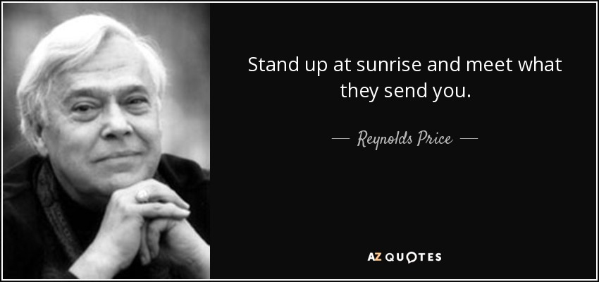 Stand up at sunrise and meet what they send you. - Reynolds Price