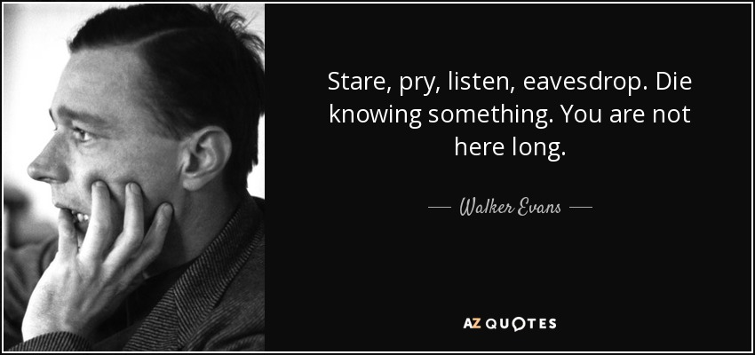 Stare, pry, listen, eavesdrop. Die knowing something. You are not here long. - Walker Evans