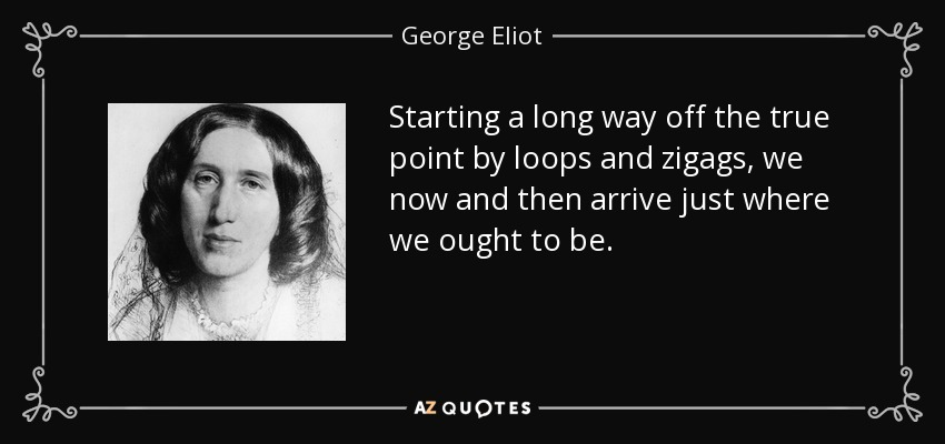 Starting a long way off the true point by loops and zigags, we now and then arrive just where we ought to be. - George Eliot