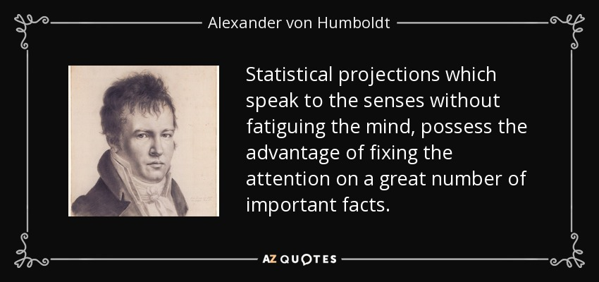 Statistical projections which speak to the senses without fatiguing the mind, possess the advantage of fixing the attention on a great number of important facts. - Alexander von Humboldt