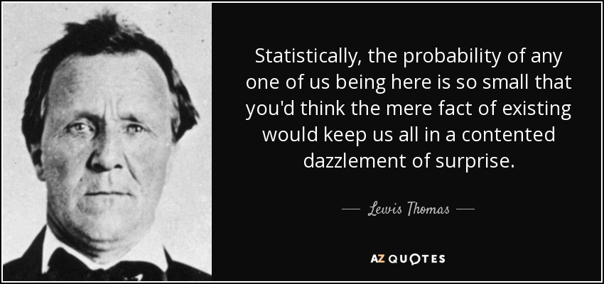 Statistically, the probability of any one of us being here is so small that you'd think the mere fact of existing would keep us all in a contented dazzlement of surprise. - Lewis Thomas