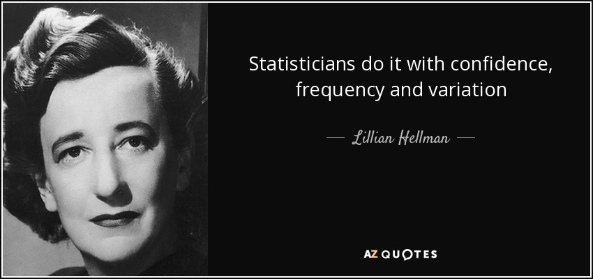 Statisticians do it with confidence, frequency and variation - Lillian Hellman