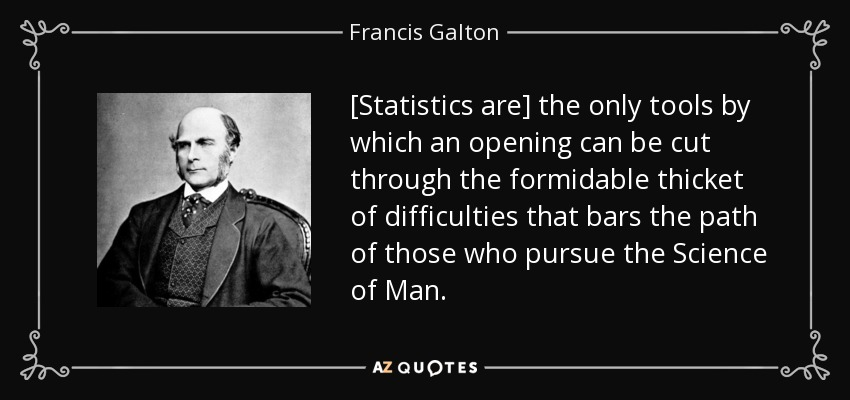 [Statistics are] the only tools by which an opening can be cut through the formidable thicket of difficulties that bars the path of those who pursue the Science of Man. - Francis Galton