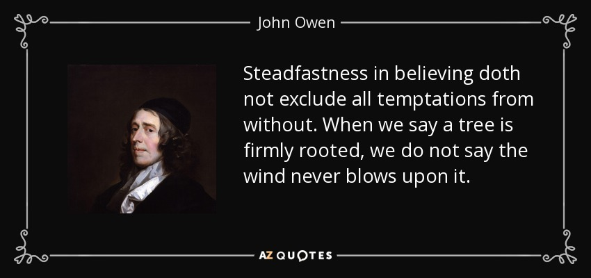 Steadfastness in believing doth not exclude all temptations from without. When we say a tree is firmly rooted, we do not say the wind never blows upon it. - John Owen