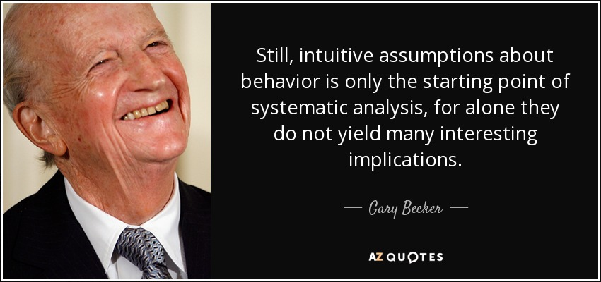 Still, intuitive assumptions about behavior is only the starting point of systematic analysis, for alone they do not yield many interesting implications. - Gary Becker