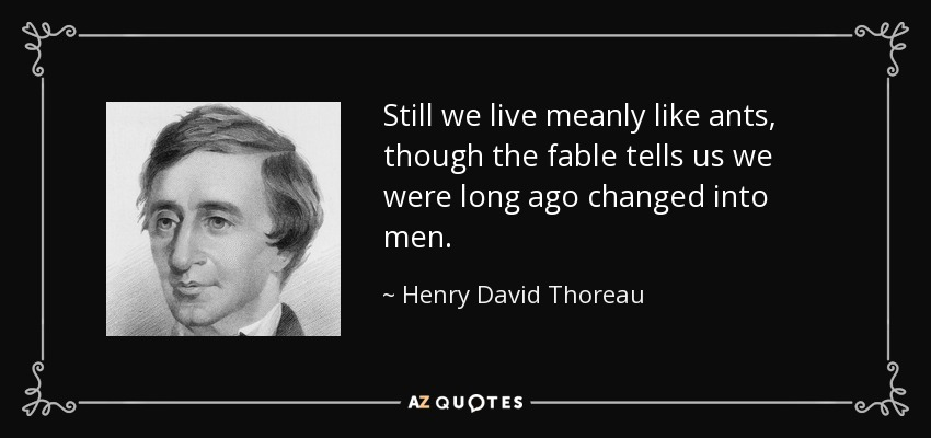 Still we live meanly like ants, though the fable tells us we were long ago changed into men. - Henry David Thoreau