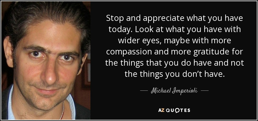 Stop and appreciate what you have today. Look at what you have with wider eyes, maybe with more compassion and more gratitude for the things that you do have and not the things you don't have. - Michael Imperioli