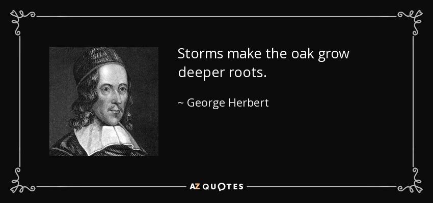 Storms make the oak grow deeper roots. - George Herbert