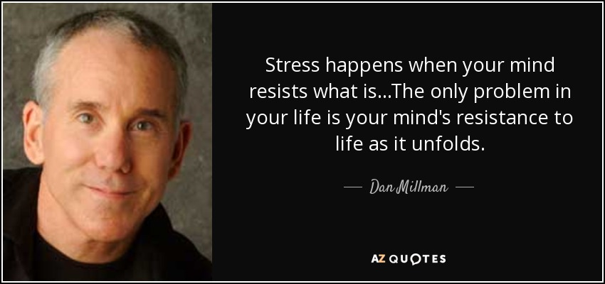 Stress happens when your mind resists what is...The only problem in your life is your mind's resistance to life as it unfolds. - Dan Millman
