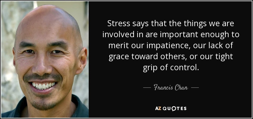 Stress says that the things we are involved in are important enough to merit our impatience, our lack of grace toward others, or our tight grip of control. - Francis Chan