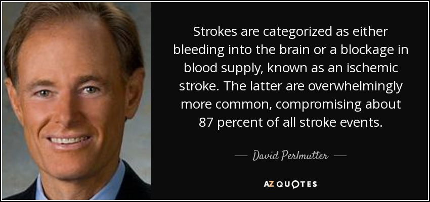 Strokes are categorized as either bleeding into the brain or a blockage in blood supply, known as an ischemic stroke. The latter are overwhelmingly more common, compromising about 87 percent of all stroke events. - David Perlmutter