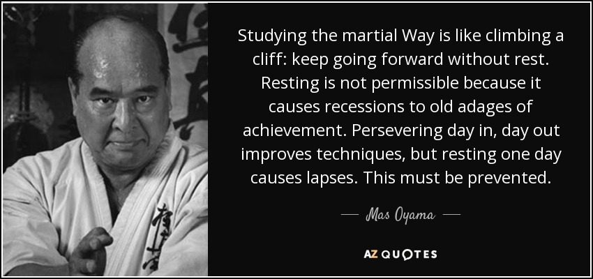 Mas oyama quote studying the martial way is like climbing a cliff keep - Miyamoto musashi zitate ...