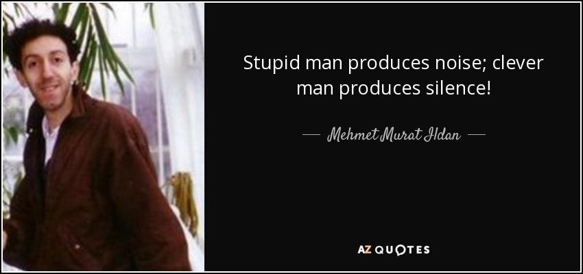 Stupid man produces noise; clever man produces silence! - Mehmet Murat Ildan