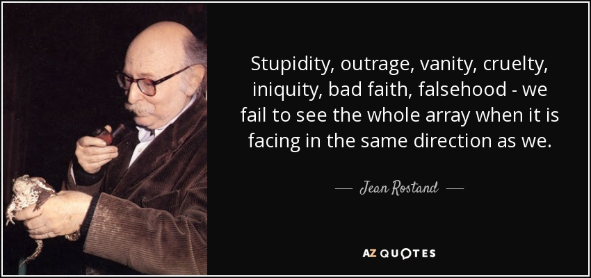 Stupidity, outrage, vanity, cruelty, iniquity, bad faith, falsehood - we fail to see the whole array when it is facing in the same direction as we. - Jean Rostand