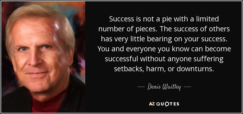Success is not a pie with a limited number of pieces. The success of others has very little bearing on your success. You and everyone you know can become successful without anyone suffering setbacks, harm, or downturns. - Denis Waitley