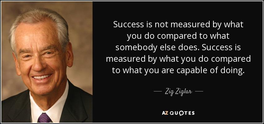 Success is not measured by what you do compared to what somebody else does. Success is measured by what you do compared to what you are capable of doing. - Zig Ziglar