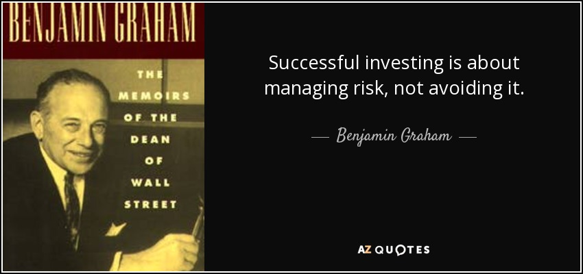 Successful investing is about managing risk, not avoiding it. - Benjamin Graham