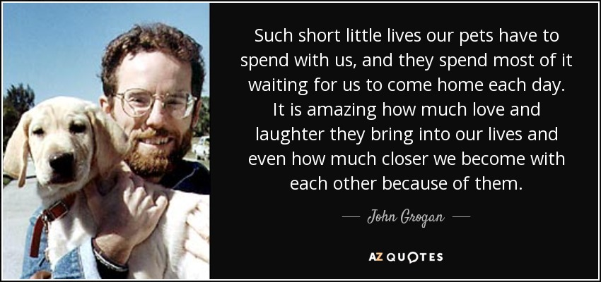 Such short little lives our pets have to spend with us, and they spend most of it waiting for us to come home each day. It is amazing how much love and laughter they bring into our lives and even how much closer we become with each other because of them. - John Grogan