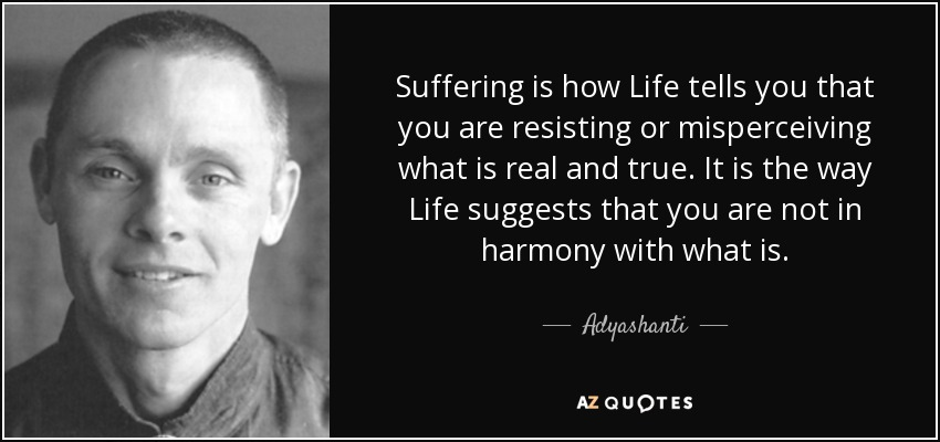 Suffering is how Life tells you that you are resisting or misperceiving what is real and true. It is the way Life suggests that you are not in harmony with what is. - Adyashanti