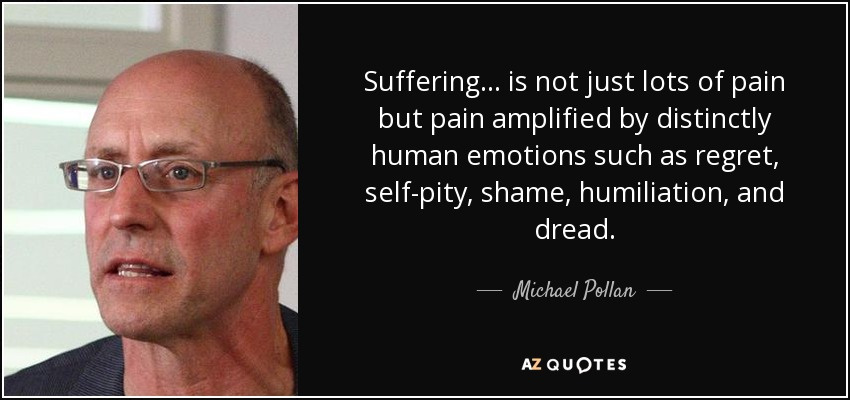 Suffering... is not just lots of pain but pain amplified by distinctly human emotions such as regret, self-pity, shame, humiliation, and dread. - Michael Pollan