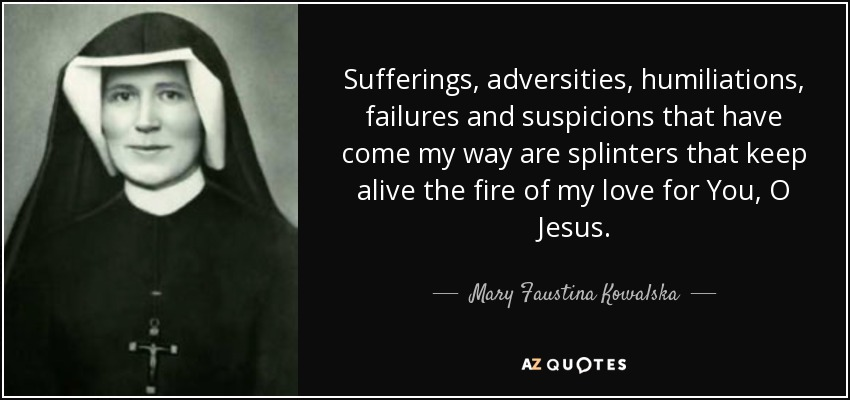 Sufferings, adversities, humiliations, failures and suspicions that have come my way are splinters that keep alive the fire of my love for You, O Jesus. - Mary Faustina Kowalska