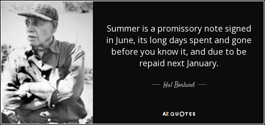 Summer is a promissory note signed in June, its long days spent and gone before you know it, and due to be repaid next January. - Hal Borland