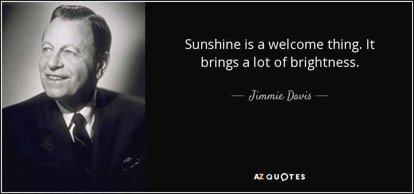 Sunshine is a welcome thing. It brings a lot of brightness. - Jimmie Davis