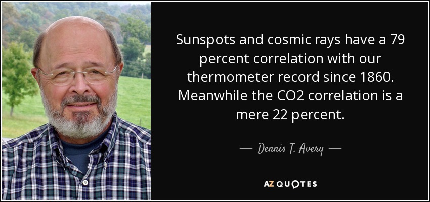 Sunspots and cosmic rays have a 79 percent correlation with our thermometer record since 1860. Meanwhile the CO2 correlation is a mere 22 percent. - Dennis T. Avery