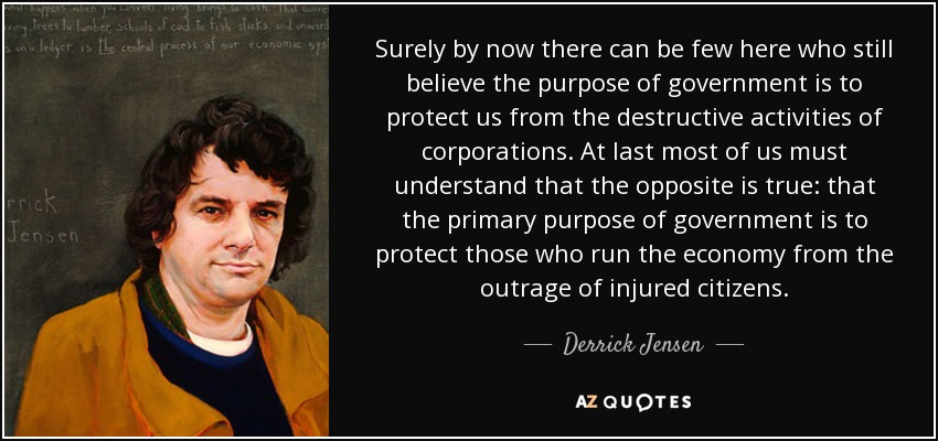 Surely by now there can be few here who still believe the purpose of government is to protect us from the destructive activities of corporations. At last most of us must understand that the opposite is true: that the primary purpose of government is to protect those who run the economy from the outrage of injured citizens. - Derrick Jensen